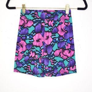 Vintage 1990s Colorful Floral Bike Shorts